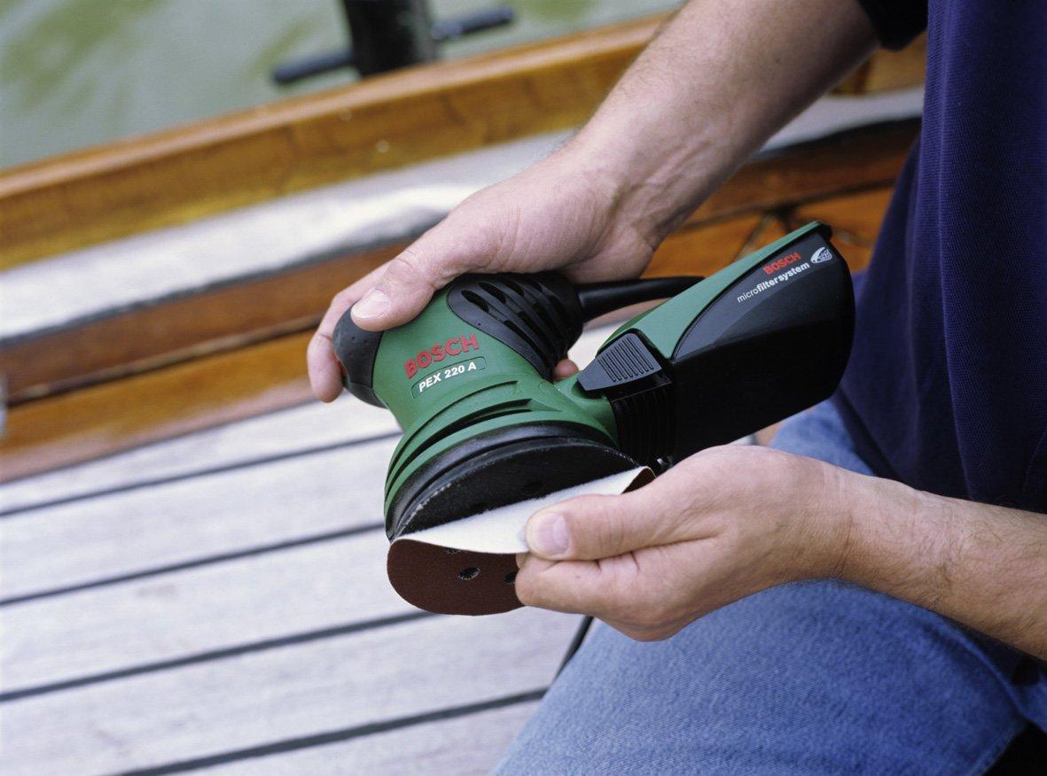 Bosch PEX 220 A - Lijadora excéntrica (220 W) + Caperuza de lana de oveja para lijadora excéntrica, 125 mm: Amazon.es: Bricolaje y herramientas