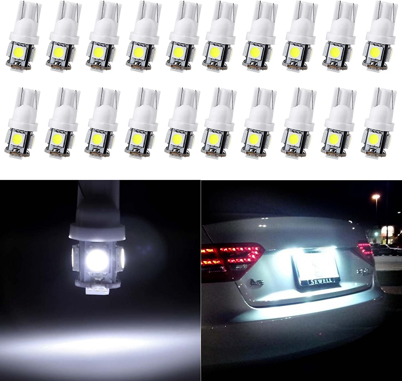 ECCPP T10 LED Bulbs 194 168 175 2825 W5W Super Bright 12V White LED Bulb 5-5050 SMD License Plate Light Pack of 20