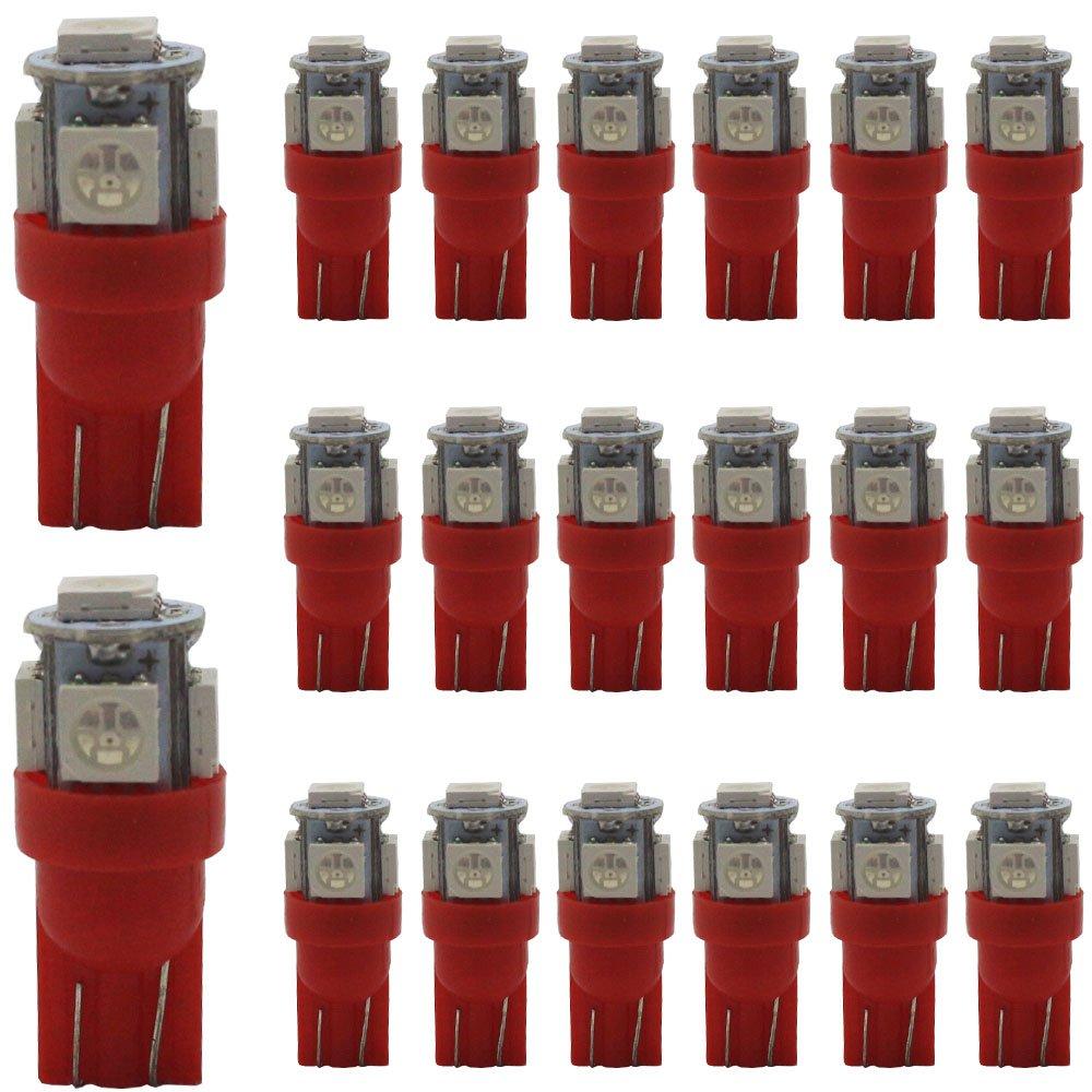 AMAZENAR 20-Pack 194 T10 LED rojo luz 24 V-DC, 5 SMD 5050 chipset coche interior W5 W 168 175 158 2825 Bombilla de cú pula de mapa cortesí a tronco de la matrí cula salpicadero lateral luz de gá libo Amazenar(TM)
