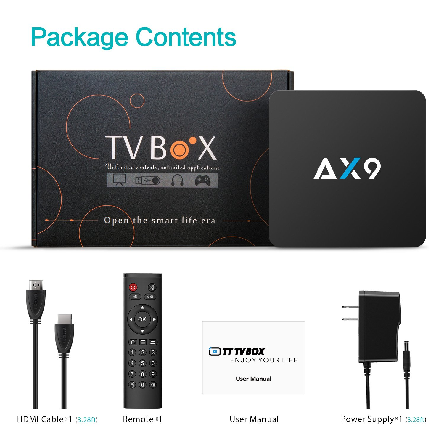 TICTID [1G DDR3/8G EMMC] AX9 Android 7.1 TV Box Amlogic Quad Core A53 Processor 64 Bits Smart TV Box with H.265 HEVC Video Decoder UHD 4k.2k HDMI 2.0 Output 2.4G WiFi Android Box by TICTID (Image #7)