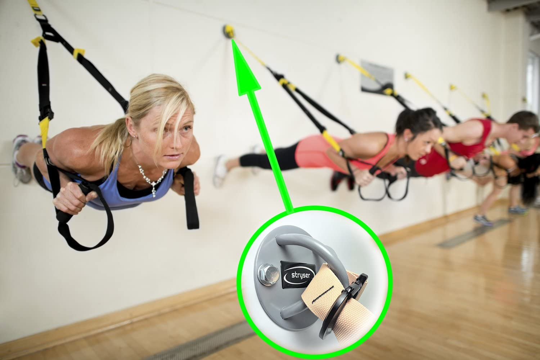 Stryser Soporte Anclaje de Techo y Pared en X para Correas de Suspensión Anillos de Gimnasia Yoga Swing Cuerdas de Batalla Equipo de Boxeo Incluye ...