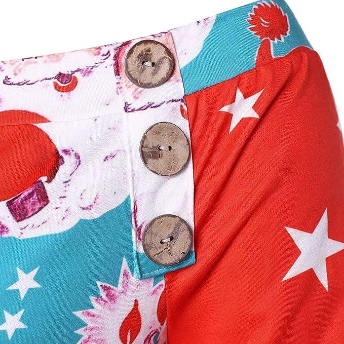 LILICAT® Suéter Azul y Rojo con Estampado navideño en los Hombros Sudadera sin Mangas de Manga Larga con Estampado navideño para Mujer Tops Estampados ...