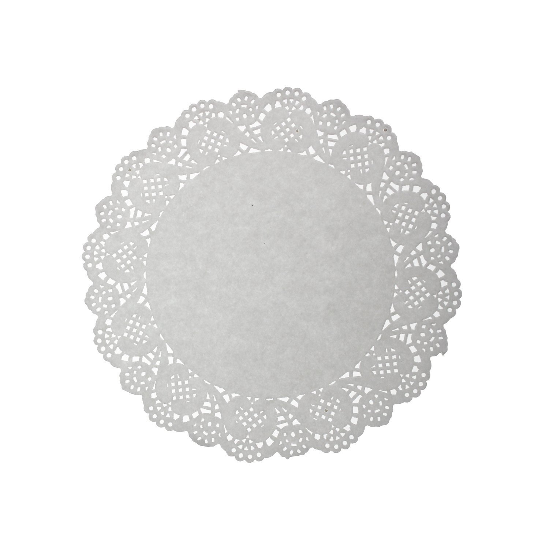 CAOLATOR Napperons en Papier Rond Blanc Pads Papier Gâteaux Dentelle Creux Dessous de Verres-100pcs (6.5 pouces)