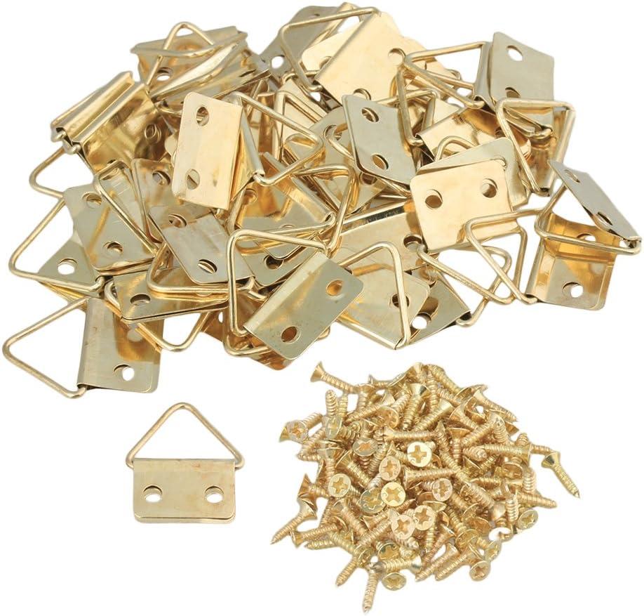 BQLZR oro hierro Triángulo Anillo colgador para espejo fotos ganchos 2agujeros de montaje con tornillos Hogar Arte Decoración Pack de 50