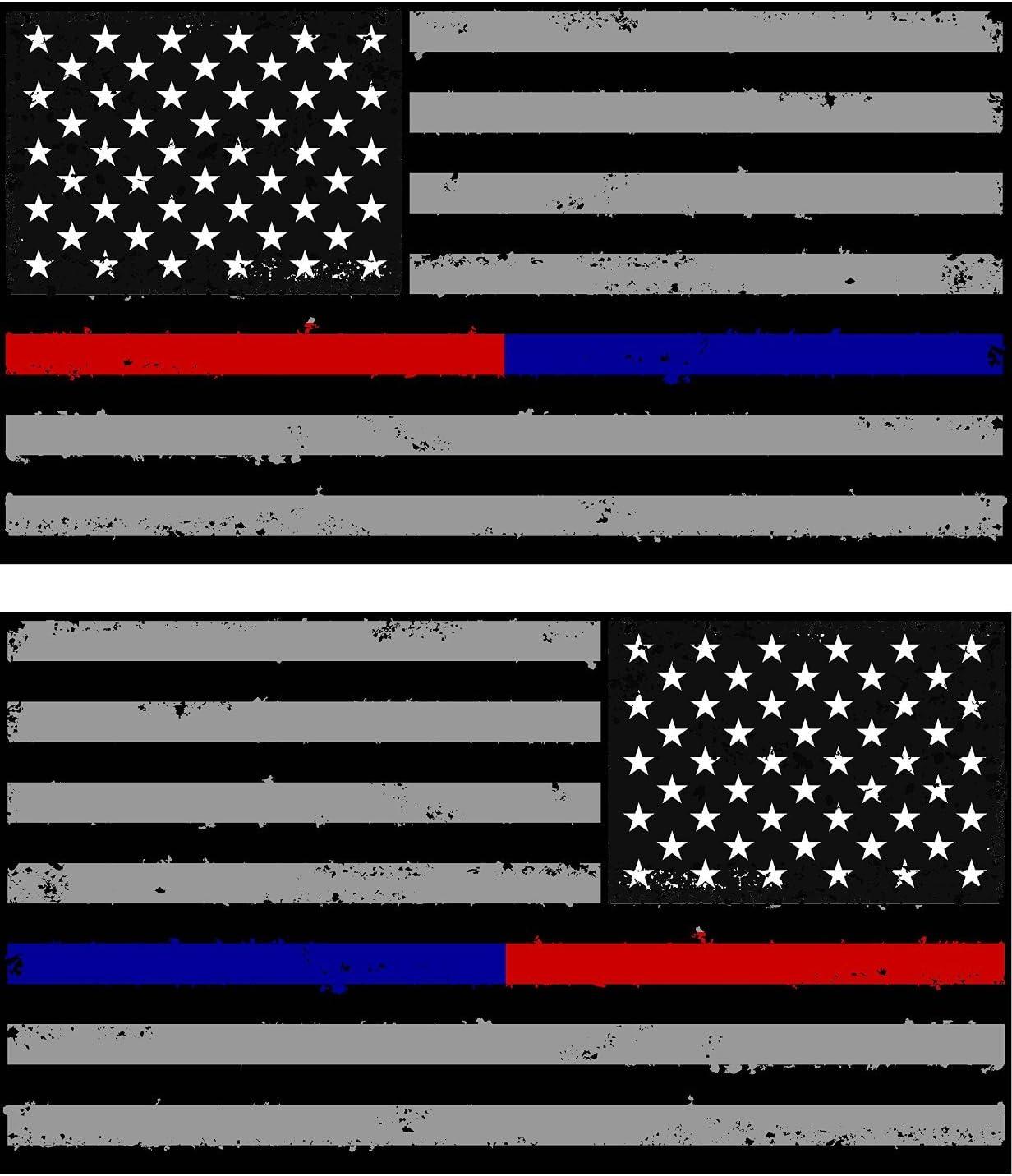 Pack de Tattered Policía y Bomberos delgada línea azul/rojo americano bandera adhesivos pegatinas X2/dos izquierda y derecha 3