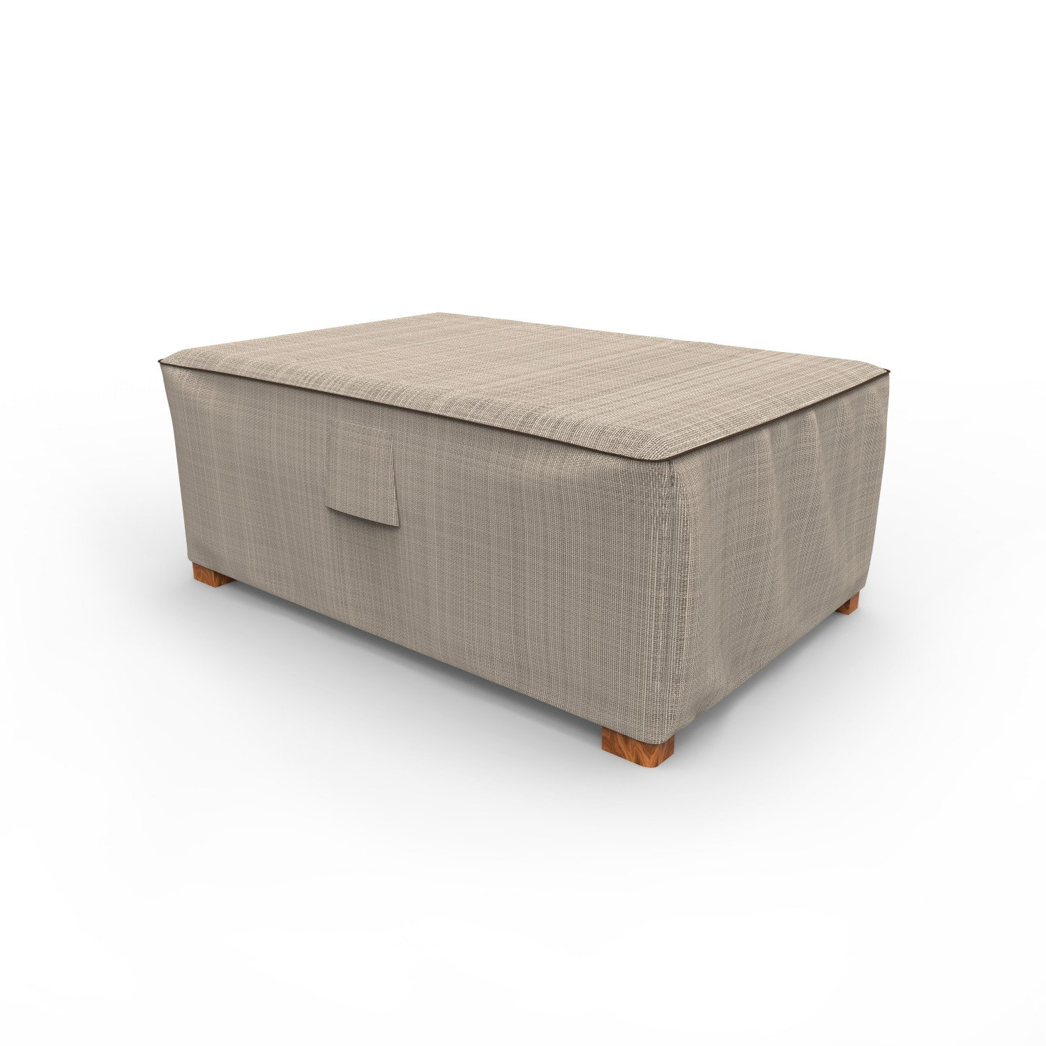 Budge English Garden Outdoor Ottoman Cover 18'' H x 33'' W x 25'' L, Tan Tweed