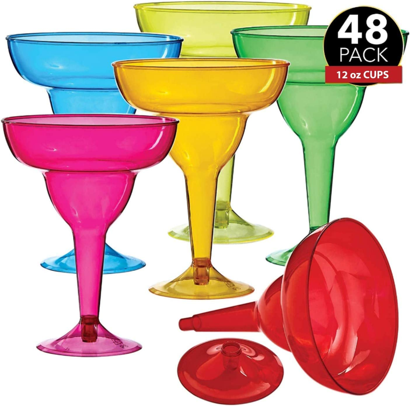 48 Plastic Margarita Glasses - 12 oz. | Hard Assorted Colors Plastic Cocktail Cups | Disposable Party Cups | Large Margarita Glasses | Plastic Cocktail Coupe | Frozen Drink Cups