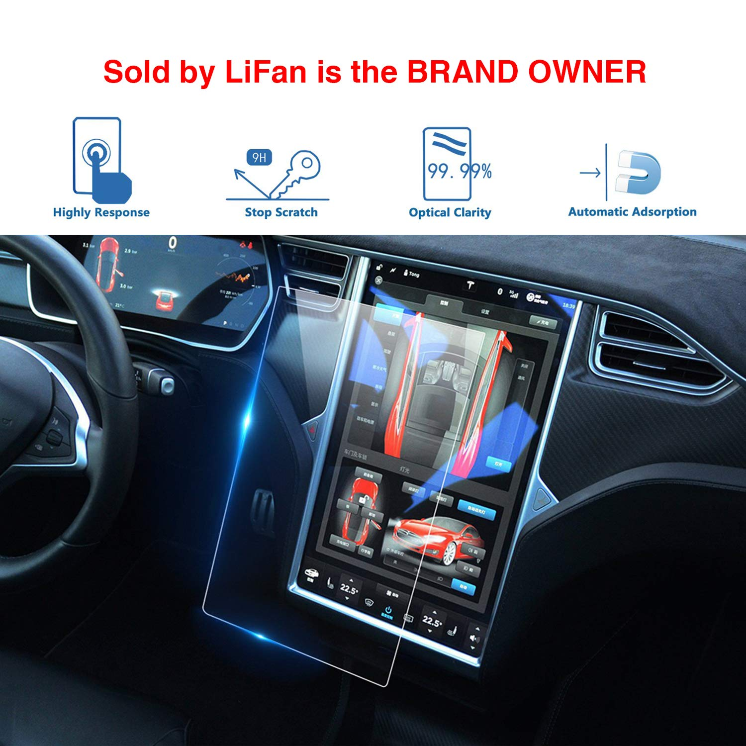 LFOTPP Tesla Model X/Model S 17-Inch Car Navigation Screen Protector, Center Touch Infotainment Media Tempered Glass Touch Screen Protector for 60 60D 70 70D P85D 90D 100 P100D 75D P90D P100D by LFOTPP