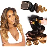 Hairitory Hair 8A Malaysian Virgin Hair With Closure Malaysian Body Wave With Closure Ombre 3 Bundles Blonde Human Hair Weave With Lace Closure (18 20 22+16, 1B#/4#/30#)