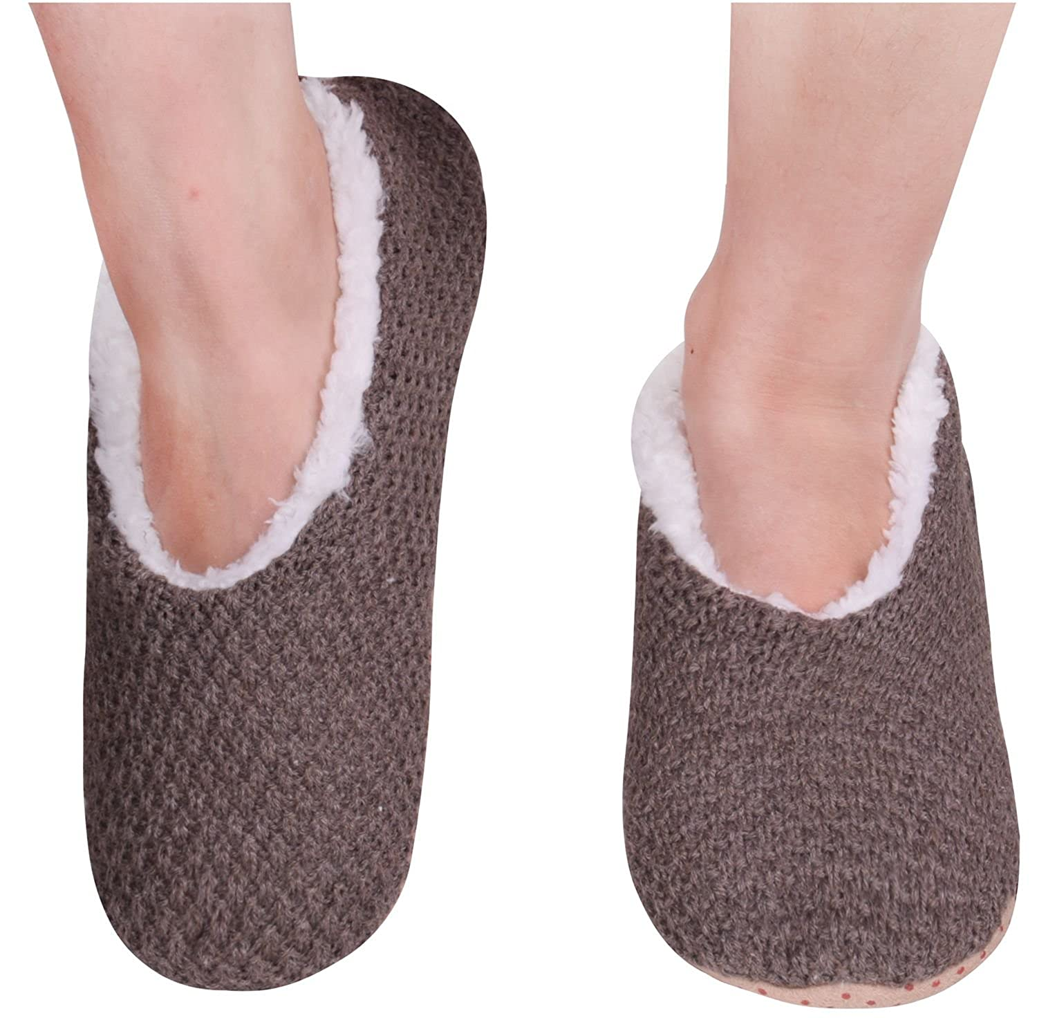 Amorismo Womens' Knit Slippers Shoes Non Slip Winter Warm ASOCKSLIPPERS3
