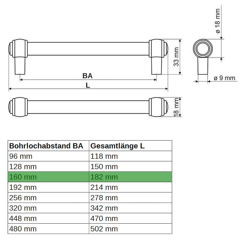 SO-TECH/® Poign/ée de meuble Althea Surface laiton antique Distance de trous 320 mm