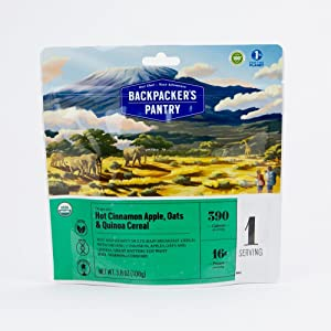 Backpacker's Pantry Organic Cinnamon Apple Oats & Quinoa, 1 Servings Per Pouch, Freeze Dried Food, 16 Grams of Protein, Vegan, Vegetarian