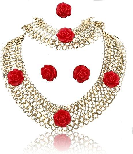Rojo escalera forma 18 K chapado en oro Moda collar pulsera anillo Pendientes Joyería Set para la Mujer: Amazon.es: Joyería