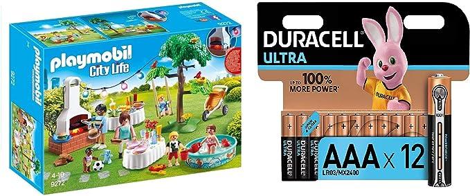 PLAYMOBIL City Life Fiesta en el Jardín, con Efectos de Luz, a Partir de 4 Años (9272) + Duracell - Ultra AAA con Powerchek, Pilas Alcalinas (Paquete de 12) 1.5 Voltios: Amazon.es: Juguetes y juegos