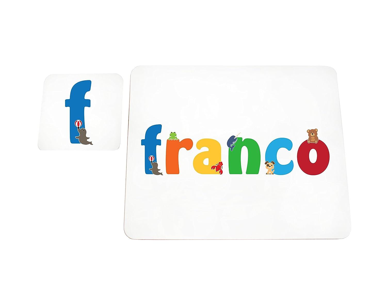 Little Helper lhv-franco-coasterandplacemat-15it Untersetzer und Platzsets mit benutzerdefinierte Hochglanz Teenager Namen Franco 21/x 30/x 2/cm mehrfarbig