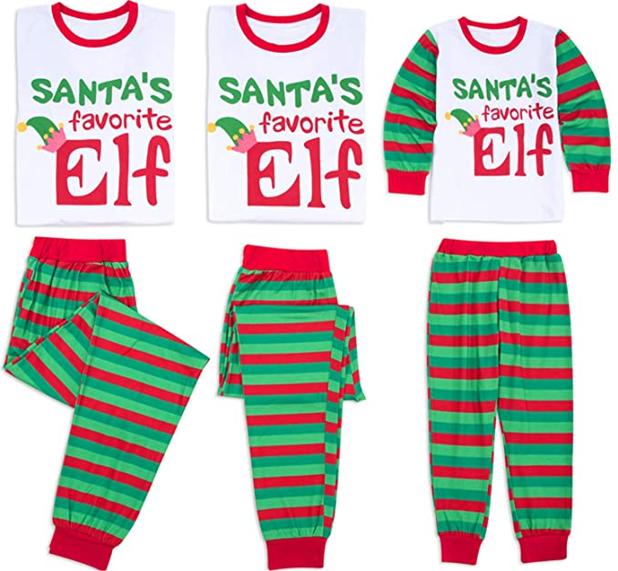 6b1fed38e4 TUSFTAY Letter Print Santa s Favorite ELF Christmas Holiday Family Matching  Pajamas Set Striped Xmas PJs Set at Amazon Women s Clothing store