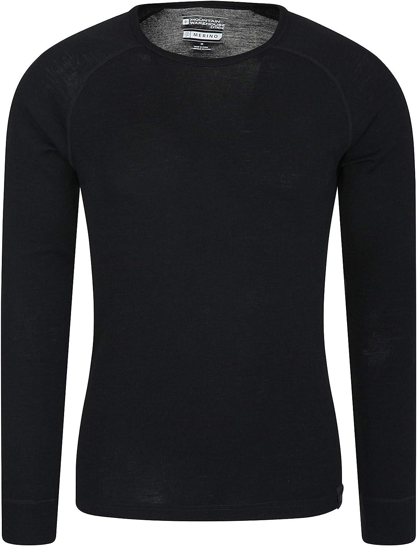 Mountain Warehouse Camiseta térmica Interior de Lana Merina con Manga Larga para Hombre - Camiseta Ligera, Camiseta antibacteriana de Secado rápido
