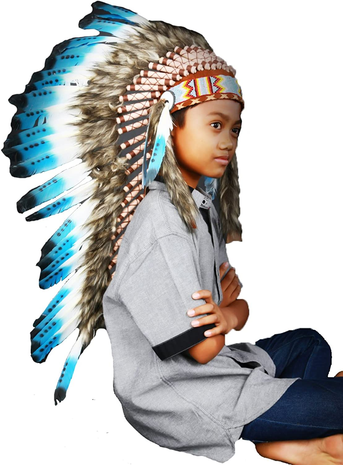 Child 2 to 5 years 53cm20.9inch Long Indian Headdress Replica made with white swan feathers