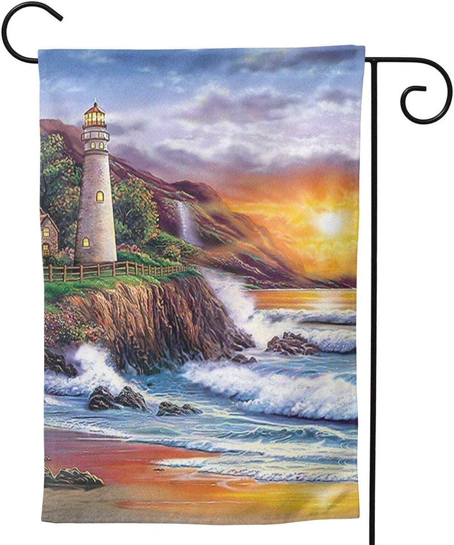 WallDecalsAndArt Lighthouse Sea Sunrise Garden Flag 12.5