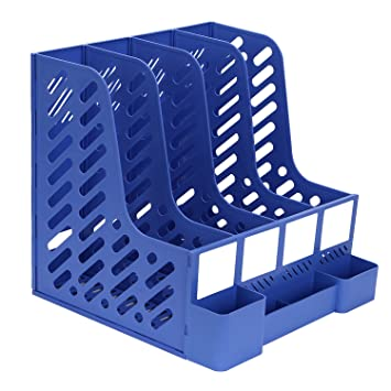 Amazon.com : TOROTON File Rack Holder, 4 Compartments Mesh Plastic Home Office Desk Book Sorter Storage Shelf, for Paper Magazine Documents and Books -Blue ...