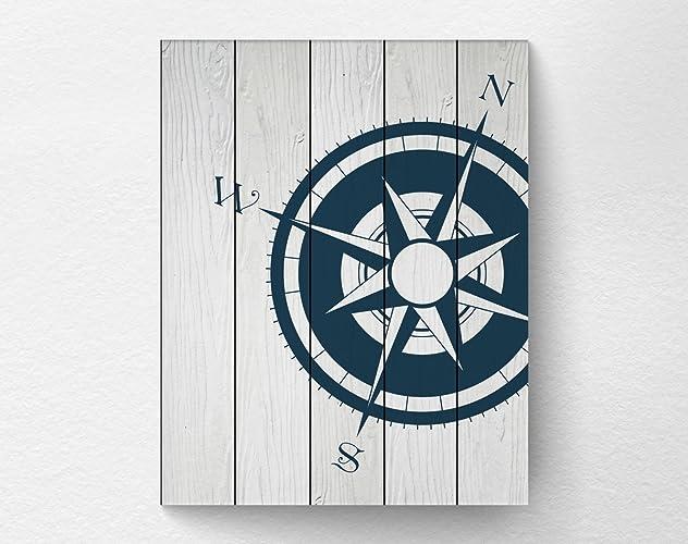 Unique Amazon.com: Nautical Compass Wall Art Print Poster Decor, Navy  ME89