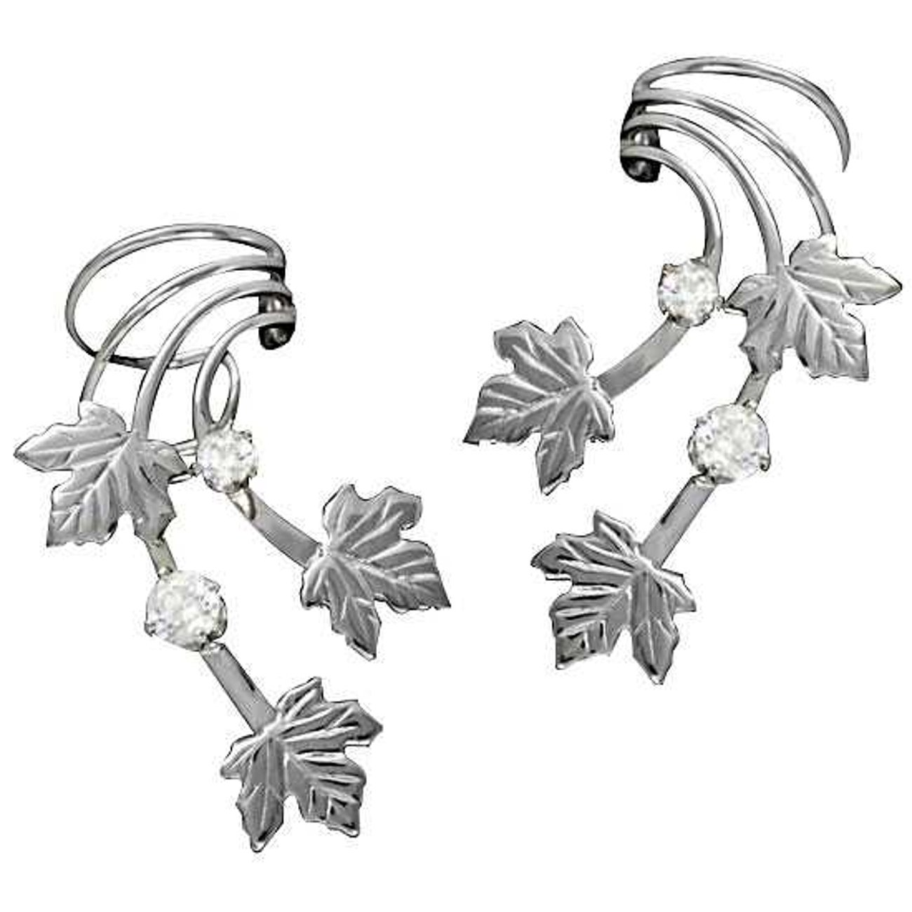 Sterling Silver Left And Right Pierceless Maple Leaves Ear Cuff Wraps