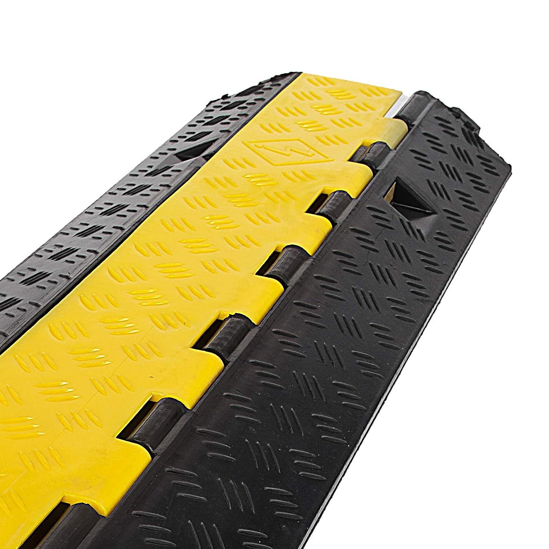 5pezzi OldFe 100x25x5cm Passacavo A Pavimento In Gomma 2 Slot Capacit/à 40T Passacavo Per Pavimento Con 2 Canali