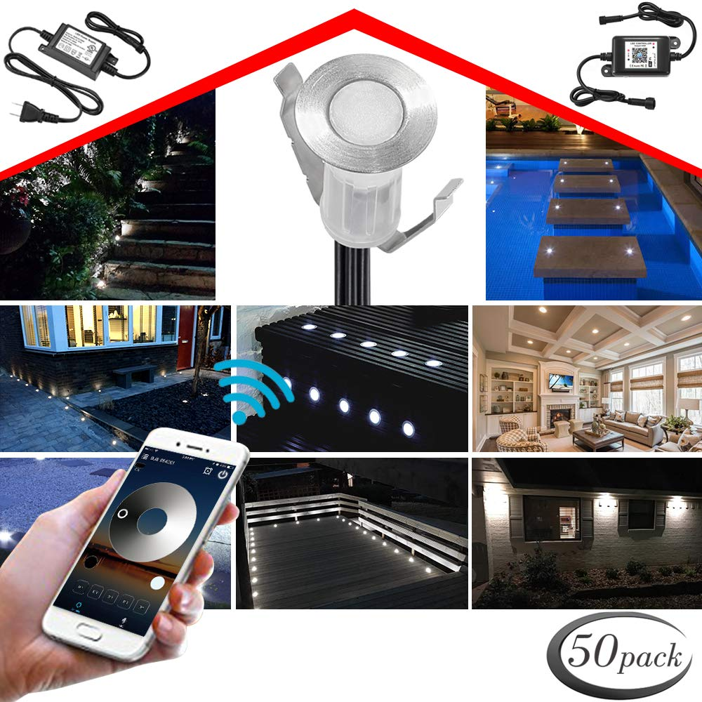 WiFi Deck Lighting Kit, FVTLED WiFi Controlled 50pcs Low Voltage LED Step Lights Φ0.75'' Stainless Steel Waterproof Outdoor Recessed Stair Light Work with Alexa Google Home, Cold White