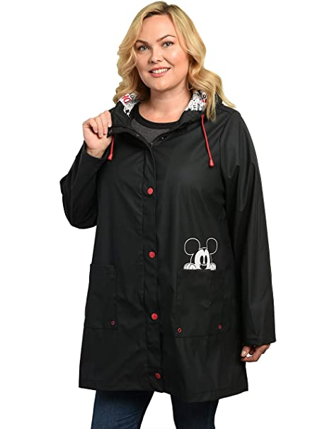 new style & luxury 2019 factory price latest style Disney Women's Rain Jacket Plus Size Mickey Mouse Peeking Print Lightweight  Coat