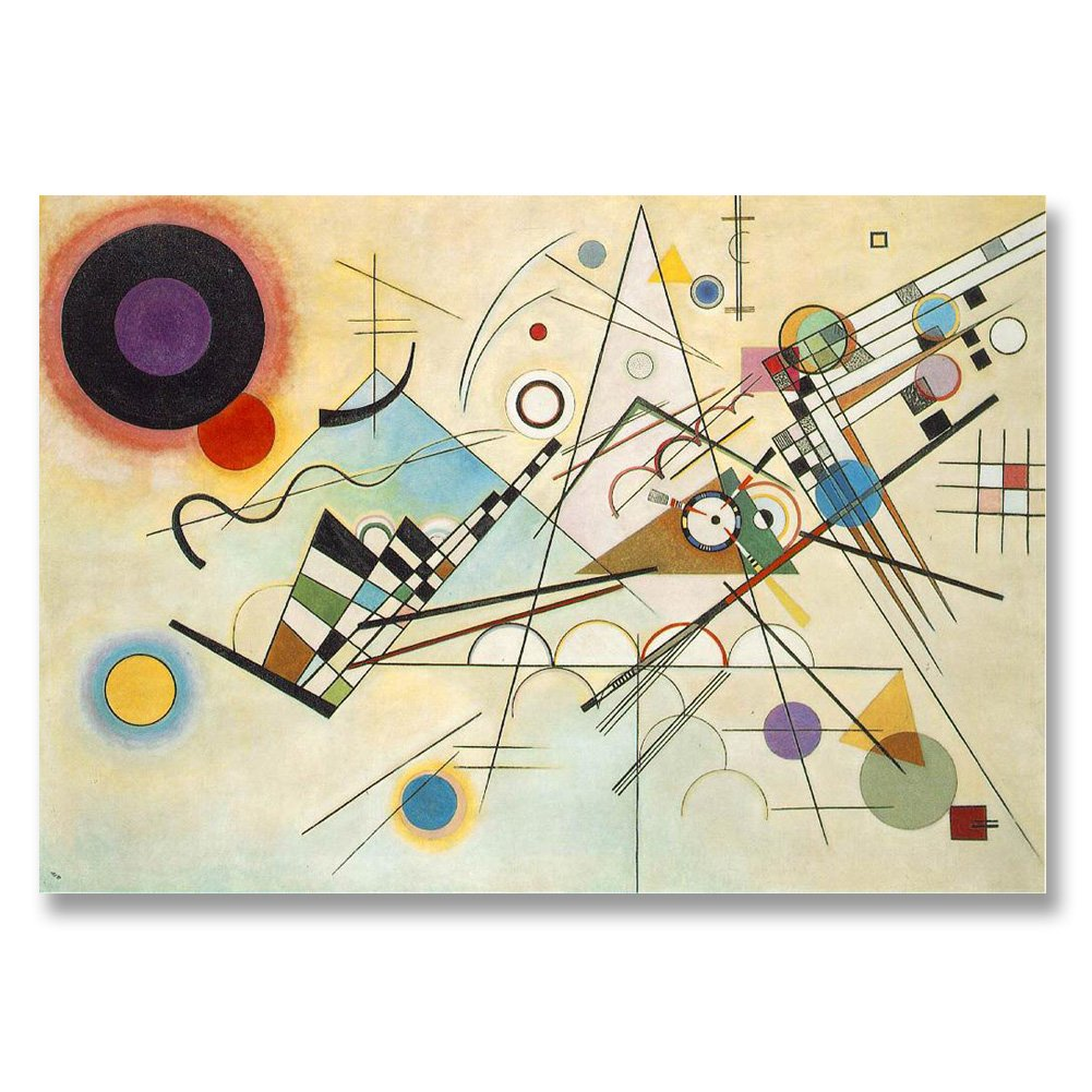 Wassily Kandinsky Composition VIII 1923 Original Abstract Canvas Paintings Hand Painted Reproduction Unframed Tablet - 36X26 inch (91X66 cm) for Living Room Bedroom Dining Room Wall Decor To DIY Frame