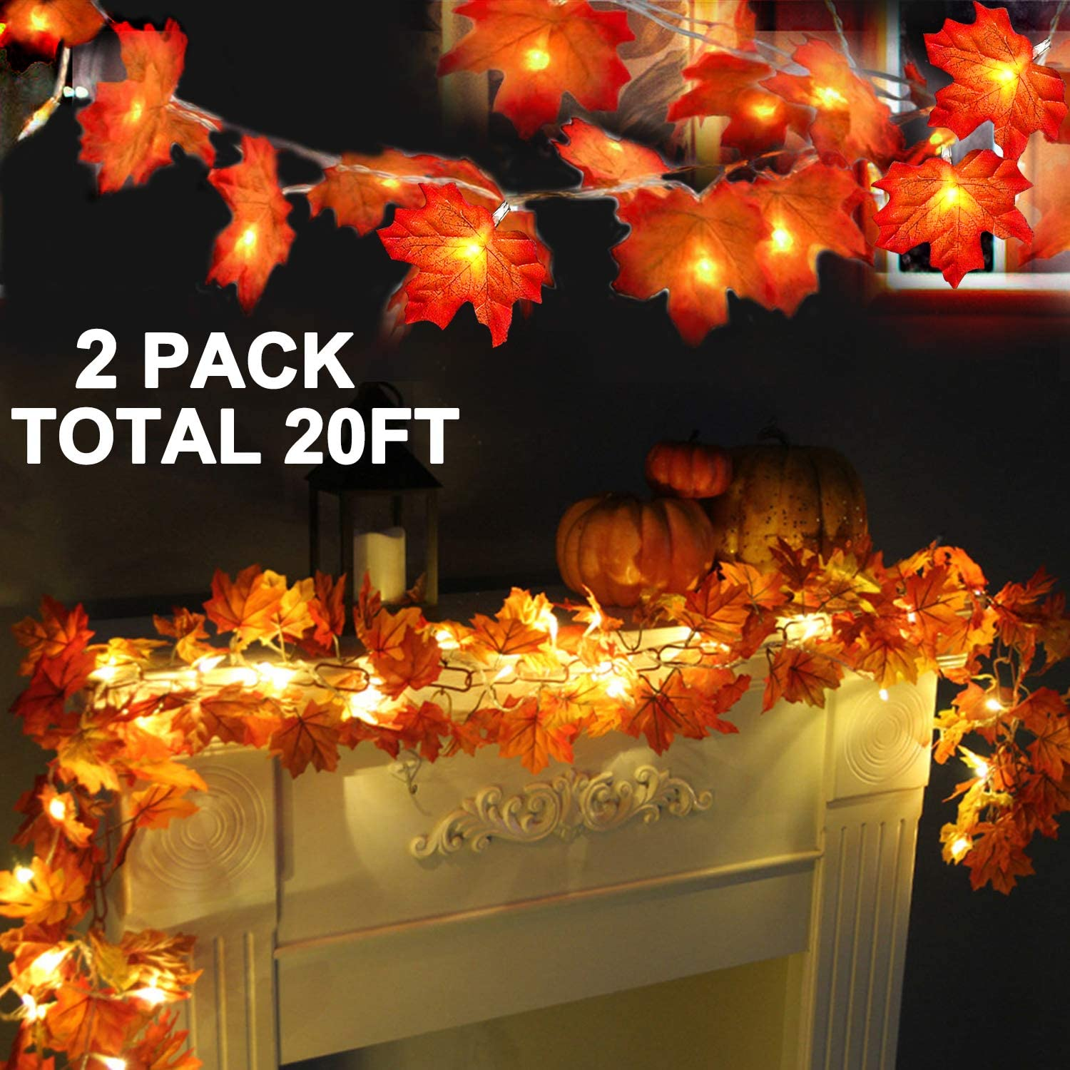 2 Pack Thanksgiving Lights Fall Maple Leaves String Lights Thanksgiving Decorations, Total 20 Ft & 40 LED Maple Leaves Lights Battery Operated Fall Lights for Holiday Autumn Garland Home Indoor Decor