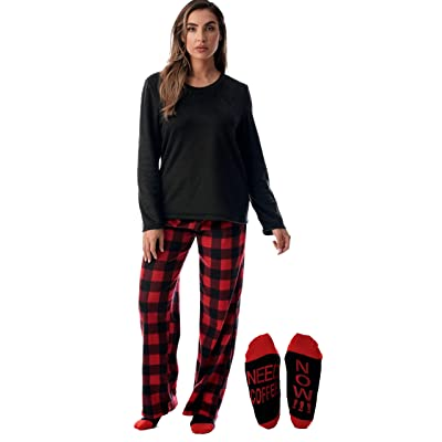 Just Love Plush Women's Pajama Pant Set with Matching Socks with Sayings at Amazon Women's Clothing store
