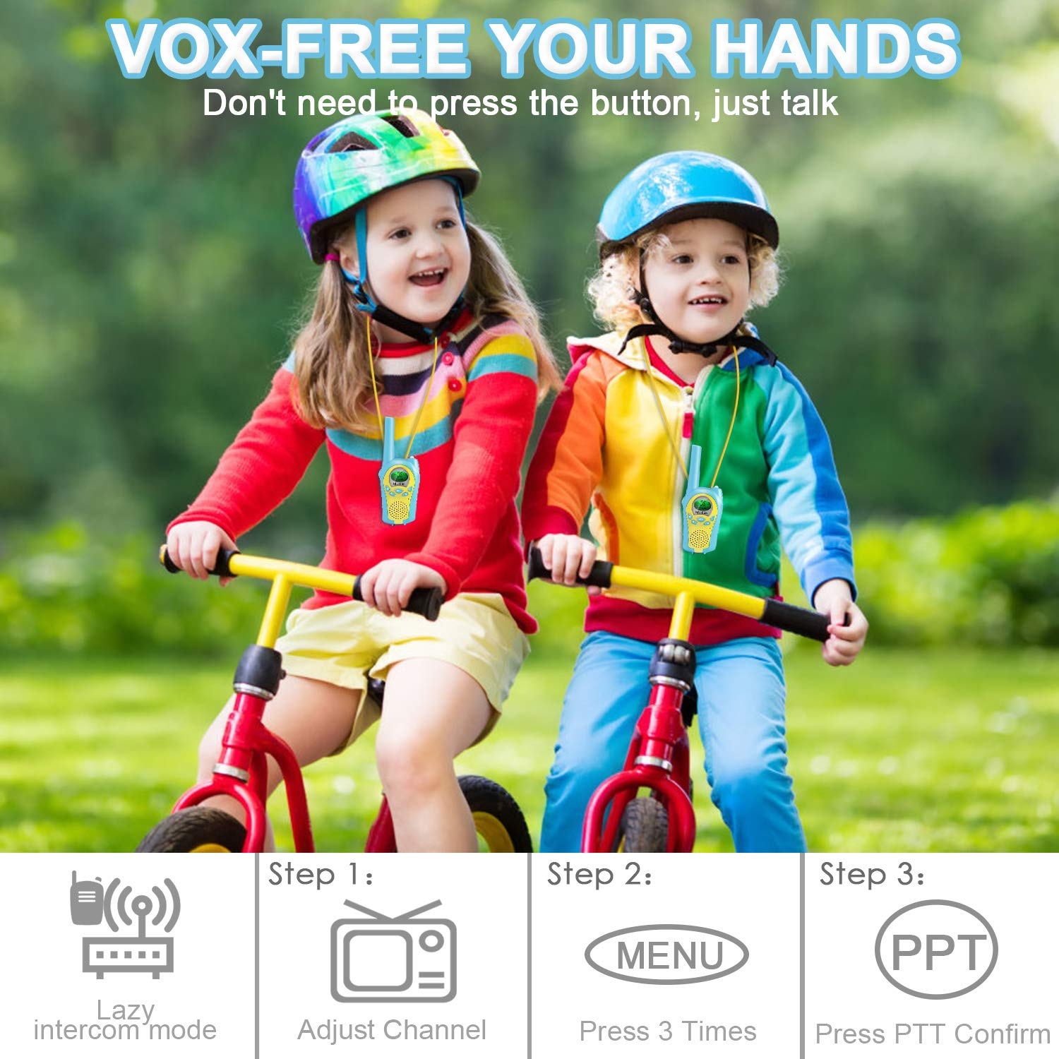 ShinePick 2 Pack Walkie Talkies for Kids 22 Channels 2 Way Radio Toy 3 Mile Long Range Handheld Talkies with Backlit LCD Built-in Flashlight for Outdoor Adventures Camping Hiking
