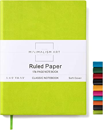 Premium Thick Paper Size: 5.8 X 8.3 Fine PU Leather Minimalism Art Blue Soft Cover Notebook Journal 176 Pages Designed in San Francisco A5 Ruled//Lined Page 100gsm
