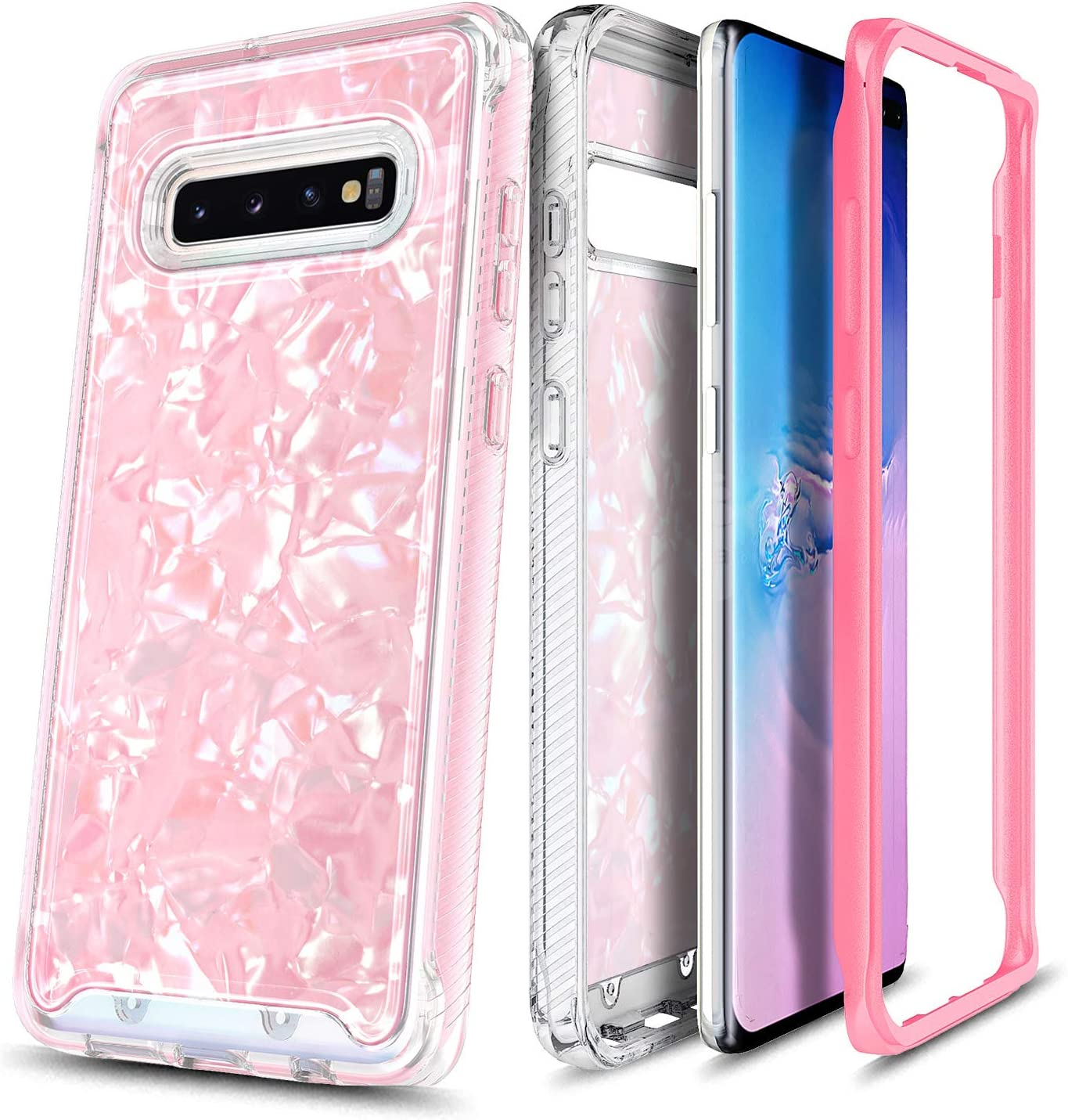 E-Began Case for Samsung Galaxy S10e, Full-Body Shockproof Protective Matte Bumper Cover (Without Screen Protector), Support Wireless Charging, Seashell Pattern Design Case (5.8 inch) -Light Pink