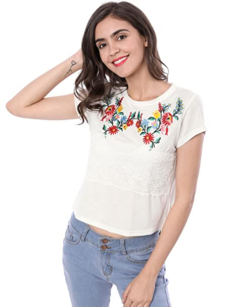 Allegra K Blusa Top Apliques Bordados Florales Mangas Cortas Superposición De Encaje para Mujer - Blanco