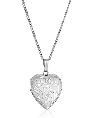 83cbb8d925 Sterling Silver Engraved Flowers Heart Locket Necklace, 18