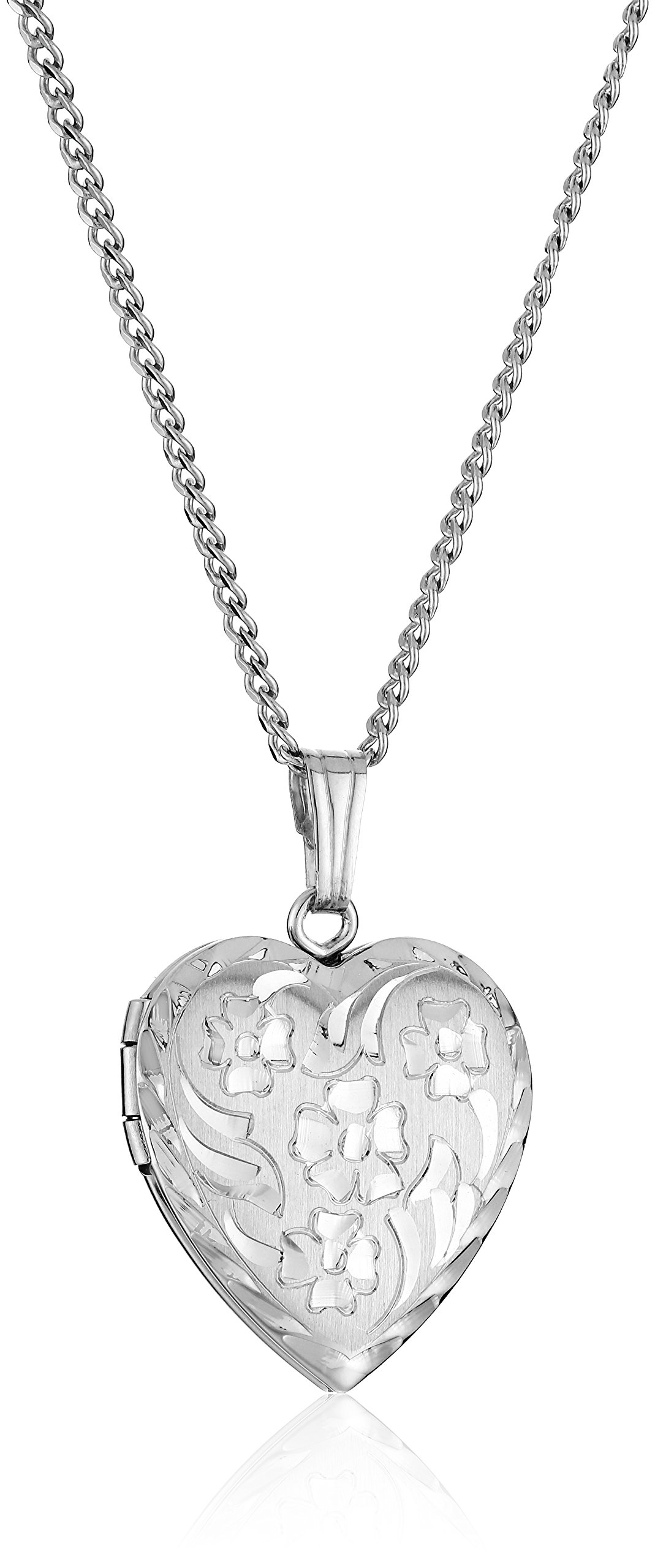 Sterling Silver Engraved Flowers Heart Locket Necklace, 18''