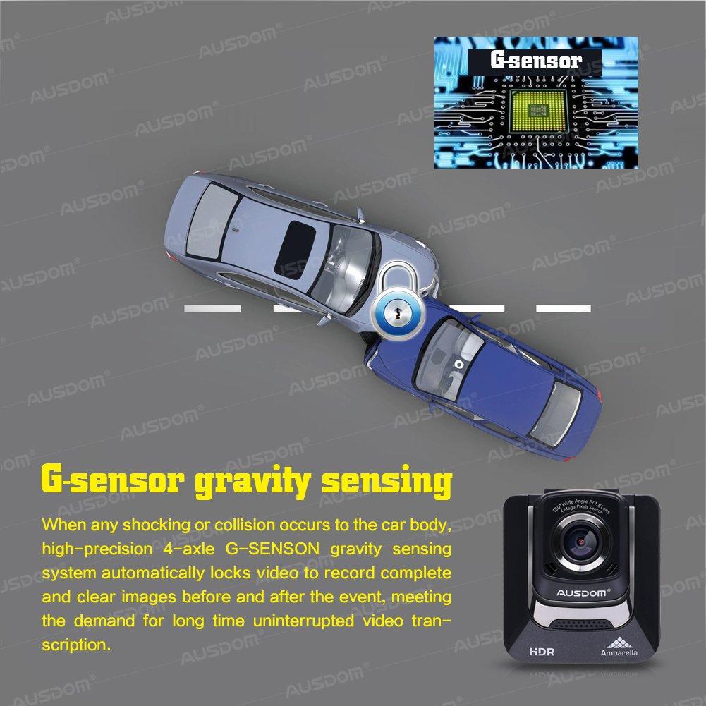 Ausdom AD282 Dash Cam, 2.4'' LCD 2K Wide Angle Dashboard Camera Car Dvr with 1296 P Ambarella A7, G-Sensor, WDR, Loop Recording, Night Vision, 16 GB Card included