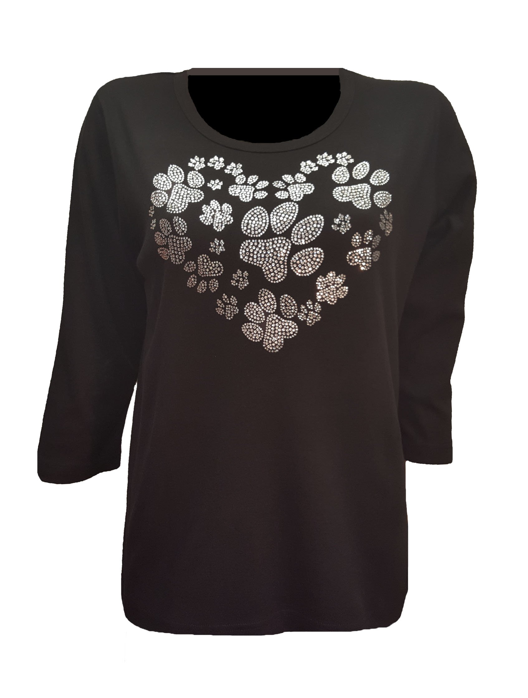 Dog Paw Print Heart Bling Black T-Shirt with Rhinestones. (XL) by ID ISAAC'S DESIGNS