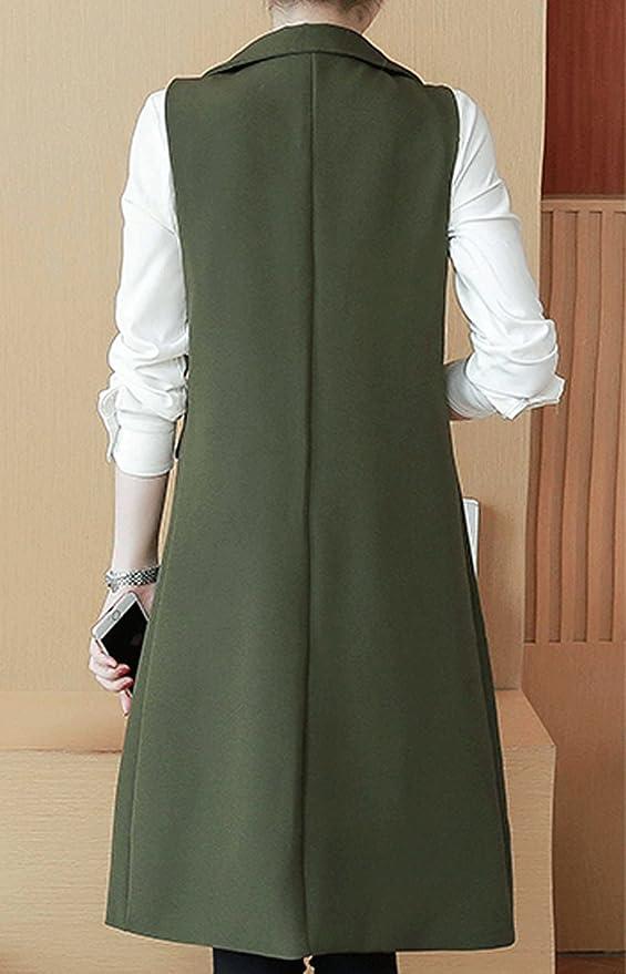 e942fdd19b7d2f LINGMIN Women s Open Longline Sleeveless Blazer Solid Jacket Vest Waistcoat  with Pockets at Amazon Women s Coats Shop