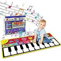 "Tencoz Kids Musical Mat, 10 Keys Music Piano Keyboard Playmat, Electronic Dance Floor Mats for Boys Girls, Baby Early Educational Toys (58.26"" x 23.62"")"
