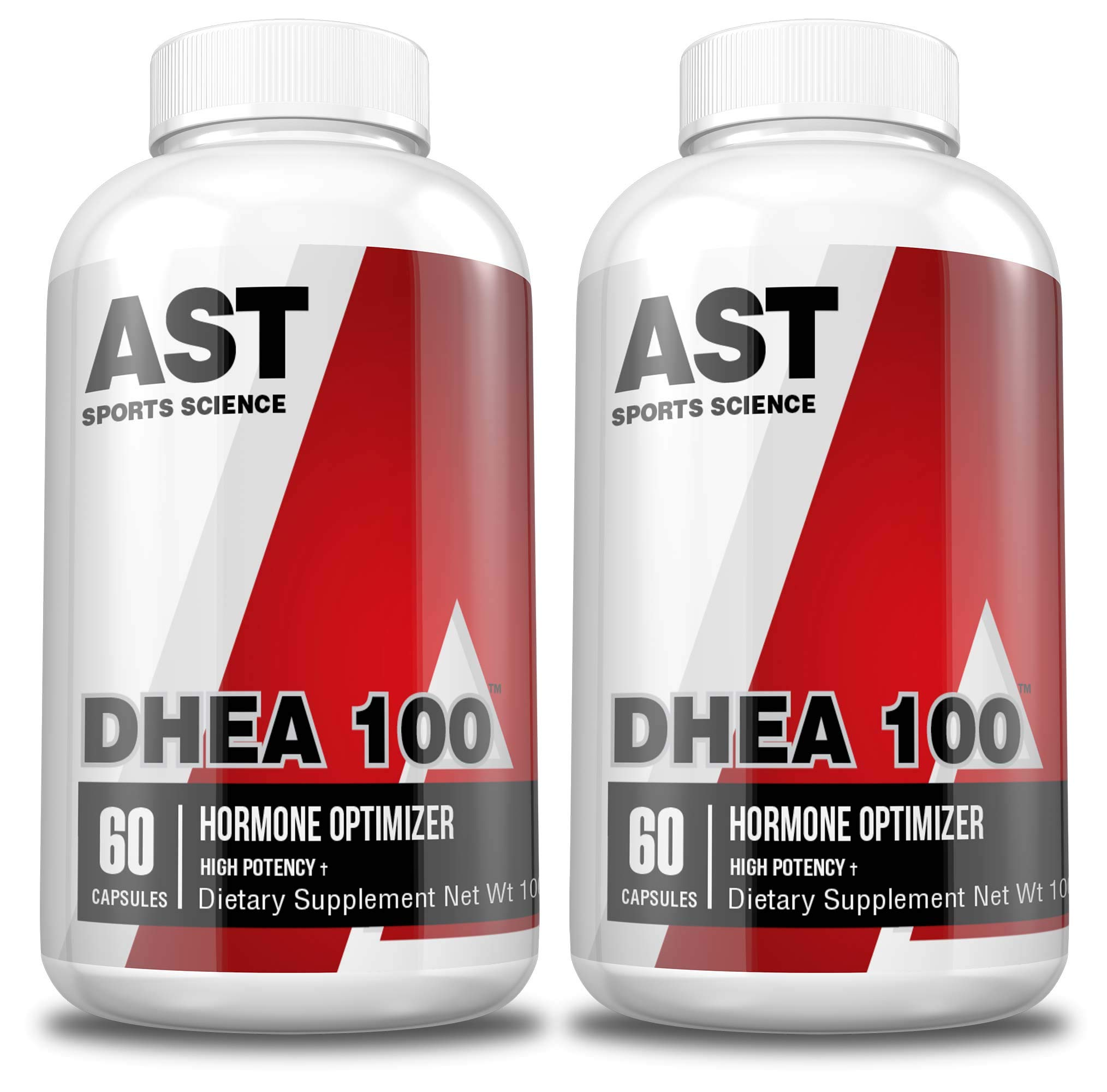 DHEA 100 - AST Sports Science 100mg per Capsule - for Supporting Lean Muscle and Decreased Body Fat, Promoting Energy, and Supporting Healthy Aging in Both Men and Women. (2-Pack)