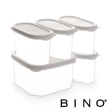 bino 10 piece airtight stackable kitchen storage container pantry set white amazon com  bino 10 piece airtight stackable kitchen storage      rh   amazon com