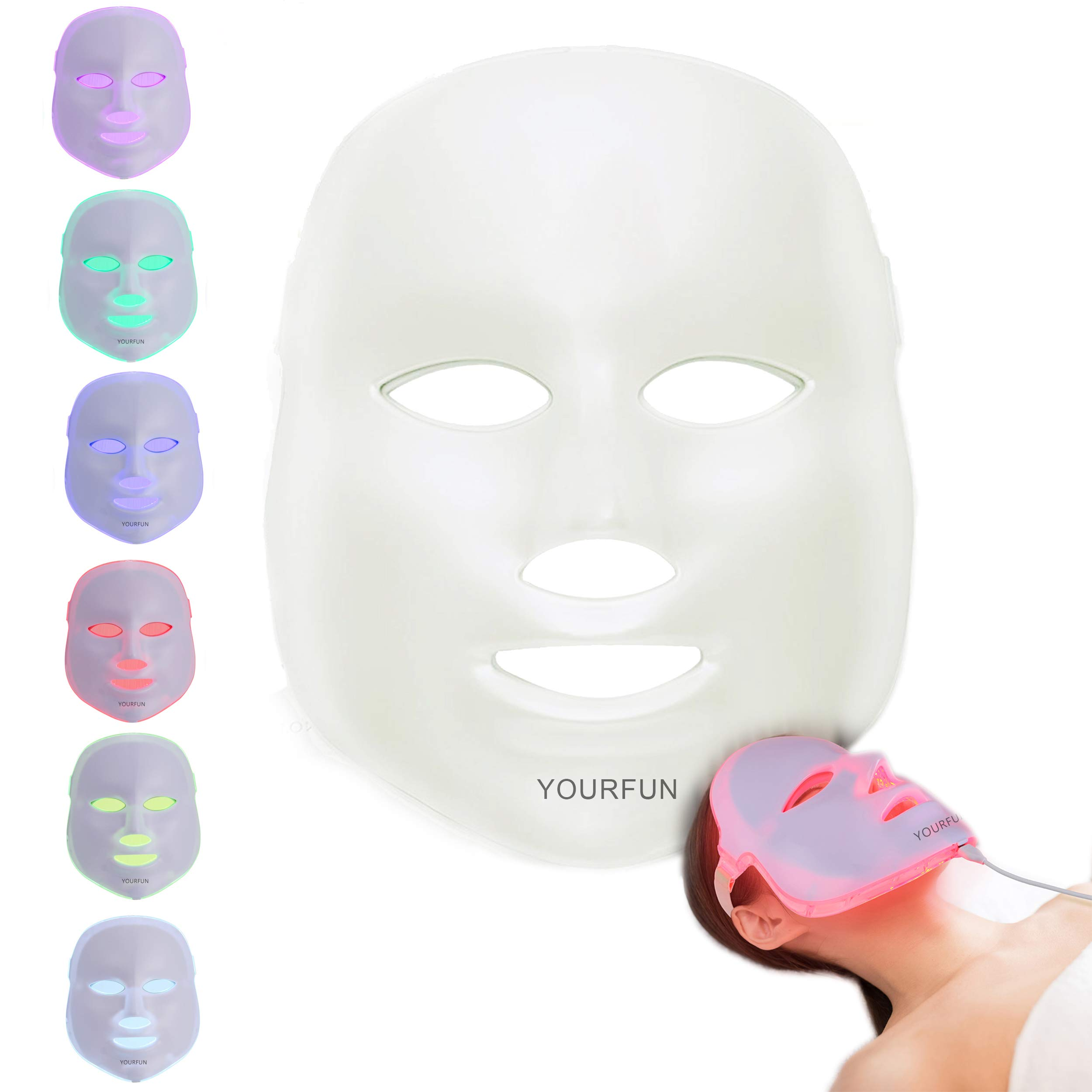 Pro 7 Color LED Face Mask Photon Light Skin Rejuvenation Therapy Korean Skin Care Facial Skin Care Spa Mask