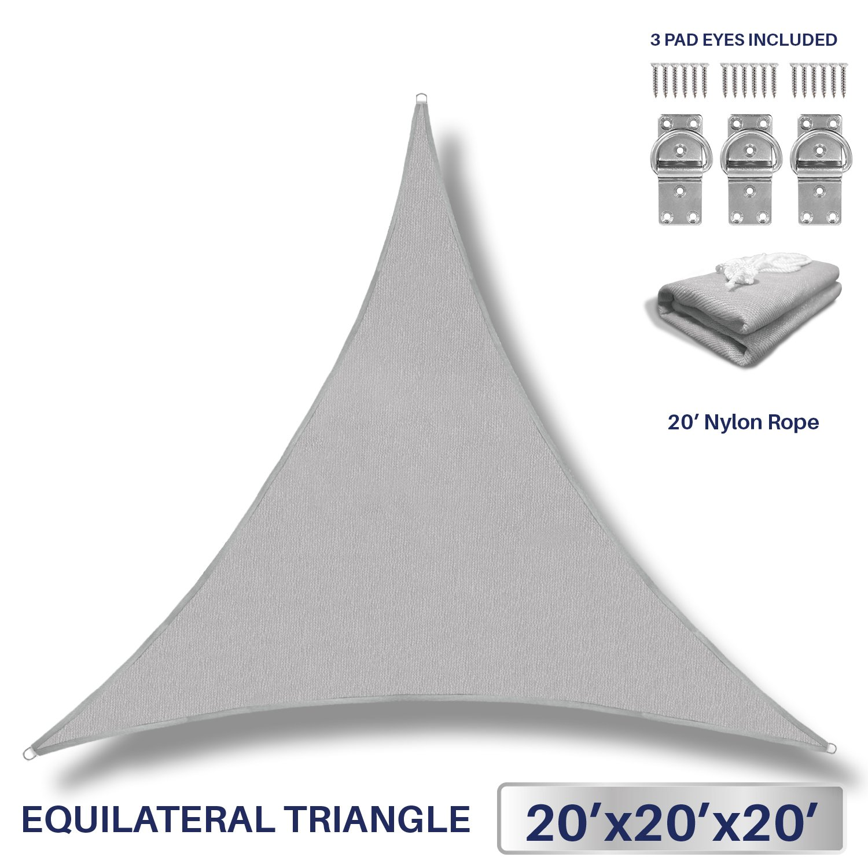 Windscreen4less 20' x 20' x 20' Sun Shade Sail UV Block Fabric Canopy in Light Grey Triangle Patio Garden Patio 3 Pad Eyes Included Customized (3 Year Warranty)