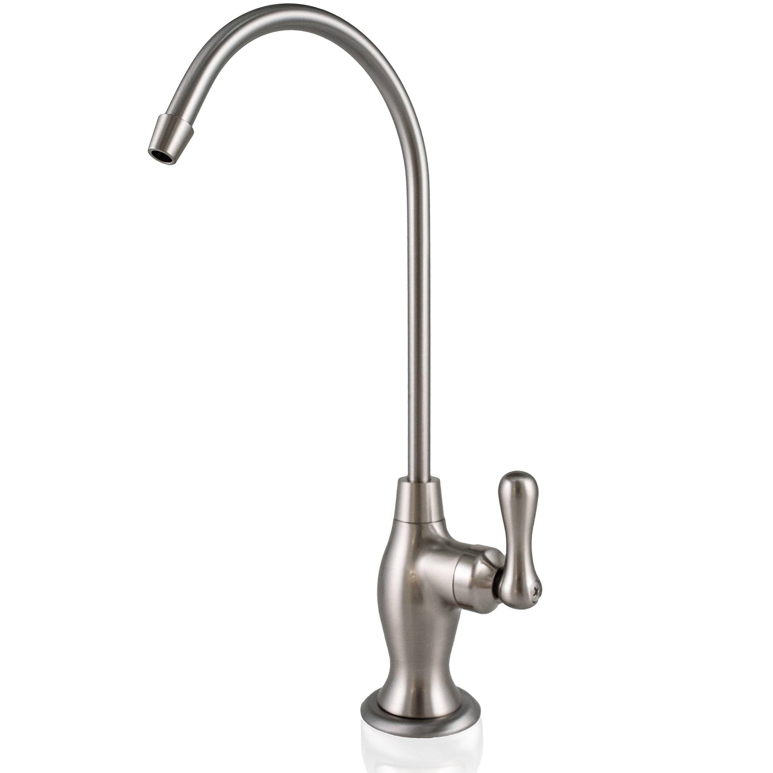 "US Aqua Heavy Duty Reverse Osmosis Drinking Water Faucet – Kitchen Bar Sink Spout with 1/4"" Connection (Brushed Nickel Bottle Style)"