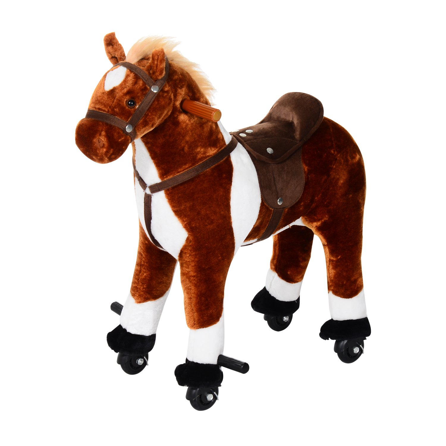 Qaba Kids Plush Ride On Toy Walking Horse with Wheels and Realistic Sounds - Brown
