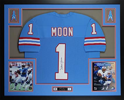 Warren Moon Autographed Blue Houston Oilers Jersey - Beautifully Matted and  Framed - Hand Signed By b090b0a6b