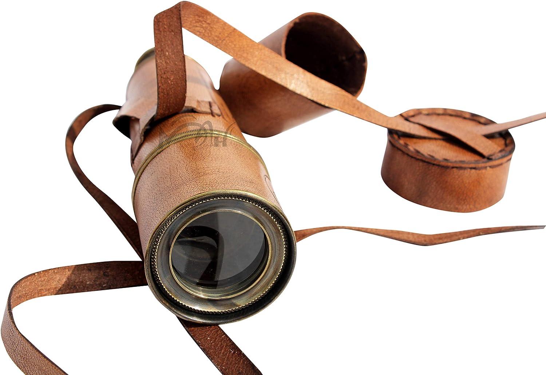 MAH 20/'/' Ship Captain Brass Telescope with Spy Glass /& Leather Case.C-3205